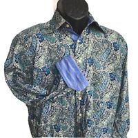 ROBERT GRAHAM Mens Small L/S Casual Shirt Green Blue Paisley Flip Cuffs Collar S