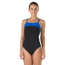 ab07259131 Speedo Women's Bolt Splice Drill Back - PowerPLUS Swimsuit Blue Black Sz 26