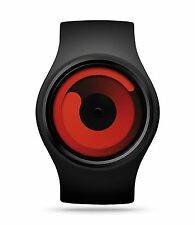 Ziiiro Unisex Gravity Black Rubber Strap Band Red Dial Watch Z0001WB