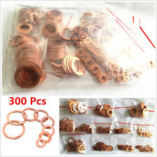 Universal 300Pcs Assorted Solid Copper Crush Washers Seal Flat Ring Gasket Kit