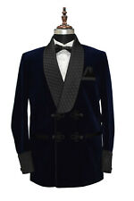Mens Smoking Jacket Quilted Lapel Navy Blue Velvet Dinner Party Blazers Coats