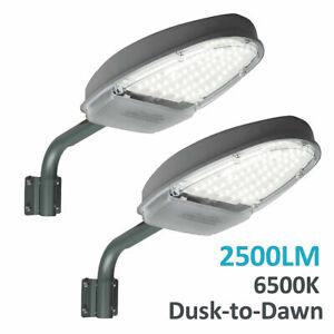 2x LED Straßenlampe Garten Straßenlaterne Hofbeleuchtung 24W Lichtsensor IP65