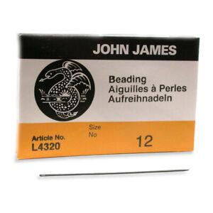 John James English Beading Needles Size 12 41433 Bulk Pack 25 Sewing Craft L4320