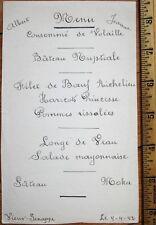Menu: French 1942 Handwritten - Filet de Boeuf Richelieu, Longe de Veau, Moka