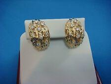 1 CARAT T.W. GENUINE DIAMONDS LARGE 14K YELLOW GOLD TEXTURED EARRINGS,12.6 GRAMS