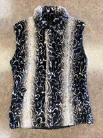 Ubu women's tan black reversible sleeveless full zip faux fur vest jacket size S