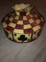 Hand Painted Poker Table Game Room Cards Painted Stained Fiberglass Lamp