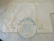 """Antique Treadle Sewing Machine Embroidered Cover """"Say It With Stitches"""" Blue Bow"""