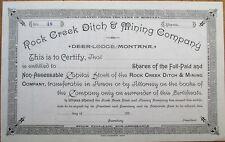 Deer Lodge, Montana 'Rock Creek Ditch & Mining Company' 1880 Stock Certificate