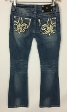 Miss Me Jeans JE8013BR Boot Cut Fleur de Lis Embellished Pockets Size 26
