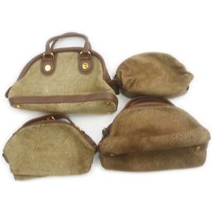 Borbonese Suede Leather Hand Bag Cosmetic Pouch 4 pieces set 520990