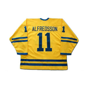 2002 Daniel Alfredsson #11 Team Sweden Hockey Jerseys Stitched Custom Names