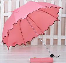 Hot sale womens rain umbrella wavy edge folding parasol sun rain umbrella