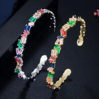 CWWZircons Fashion Gold CZ Regenbogen Open Cuff Bangle für Frauen Modeschmuck