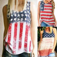 2017 Womens Summer Vest T Shirt Ladies Sleeveless Tank Tops American Flag Blouse