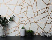 Sublime White/Gold Theia Metallic Geometric Wallpaper