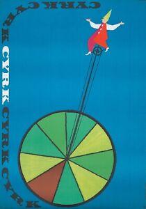 Original Vintage Affiche Lustrant Cyrk Cirque Clown Grand Monocycle 1968