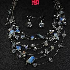 Betsey Johnson Fashion Jewelry Elegant Clear Crystal Choker Necklace Earring Set