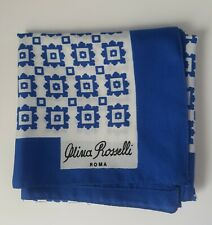 Olivia Rosselli Roma Ladies Blue and White Scarf - 22 inches Square