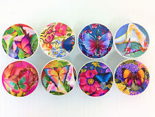 Set of 8 Butterfly Garden Print Cabinet Knobs Drawer Knobs