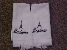 Embroidered Eiffel Tower w/ madame/ monsieur towels - White/Black