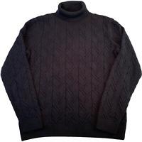 JEFFERSON Mens Knitted Jumper XL Black Roll Neck Pullover