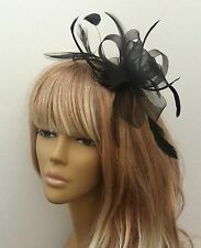 Black Coiled Feather Fascinator Headpiece Weddings Christenings Funeral Races