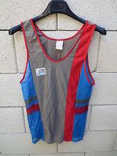 Vintage womens adidas ventex nylon running leotard shirt 80's grey s