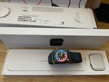 Apple Watch Series 6 44mm Gold Stainless Steel case - Baltic Blue Leather Loop