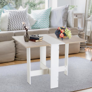 Drop Leaf Dining Table Small Breakfast Room Folding Space Saving Modern Kitchen