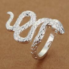 Anillo De Serpiente Larga en placa de plata esterlina Pulgar/Abrigo/Abierto. serpiente ajustable
