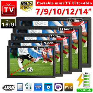 7/9/10/12/14'' 1080P Portable HDMI HD Digital TV Player Freeview Television HOT