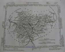 1835 Carte Atlas Géographique France Tarn et Garonne Mautoban Verdun