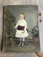 Antique Hand Painted Photo Portrait Gorgeous Edwardian Girl Holding Daisies