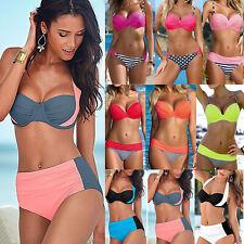 Womens Beach Swimwear Padded Bikini Set High Waist Summer Bathing Suit Swimsuit