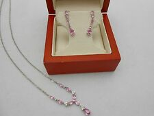 Gorgeous 14k White Gold Pink Topaz Diamond Hanging Necklace  Dangle Earrings Set