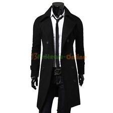 Men's Jacket Coat Slim Long Trench Winter Warm Double Breasted Overcoat Outwear