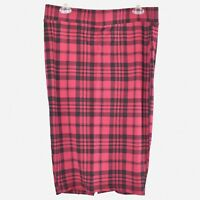 Torrid Women's Red And Black Plaid Pattern Stretch Pencil Skirt Size (0/L)