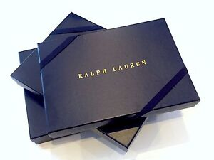 RALPH LAUREN Large Navy Blue Rectangle Gift Box with Grosgrain Ribbon
