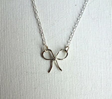 Gorgeous Handmade Silver Bow Necklace.Original Gift!