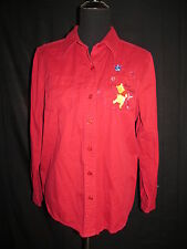 Disney Button Front Shirt Pooh Piglet Embroidered Best Friends Size Large Red
