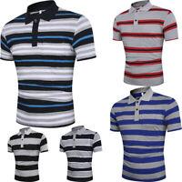 Men Summer Slim Fit Turn-down Collar Shirt Short Sleeve Pocket Top Blouse Polo