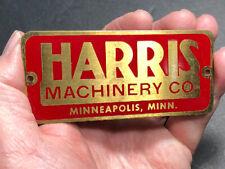 Harris Machinery Brass Advertising Nameplate Tag Mini Sign Minneapolis Minn