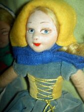 """Two early labeled Norah Wellings """"Old English"""", 8"""" cloth girl dolls #1110"""