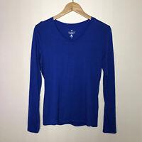 Seg'ments 100% Merino Wool Blue V-Neck Long Sleeve Base Layer Top Womens M