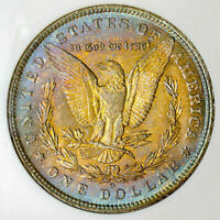 1885-O MORGAN SILVER DOLLAR NGC MS63 COLOR TONED IN HIGH GRADE GEM WITH LUSTER