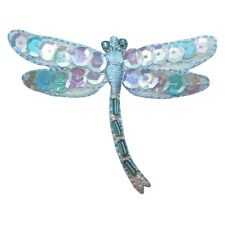 ID 1650B Mystic Dragonfly Patch Sequin Beaded Bug Embroidered Iron On Applique