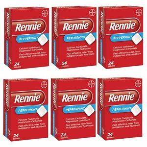 Rennie Peppermint Indigestion Heartburn Relief Antacid 24 Tablets 1,3 or 6 Packs