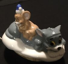 Authentic Vintage Tom & Jerry Cartoon Plug-In Night Light 1988 Glass Cat Mouse