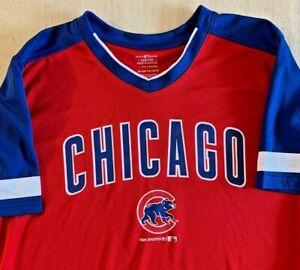 NWT Genuine MLB Chicago Cubs Dry Fit Fabric V-neck Shirt Boys XL 16-18 FREE SHIP